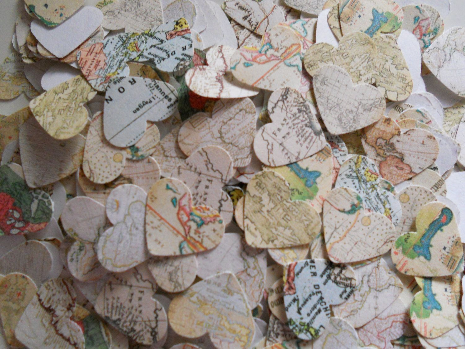 500 paper hearts wedding and party confetti world map 900 via 500 paper hearts wedding and party confetti world map 900 via etsy gumiabroncs Gallery