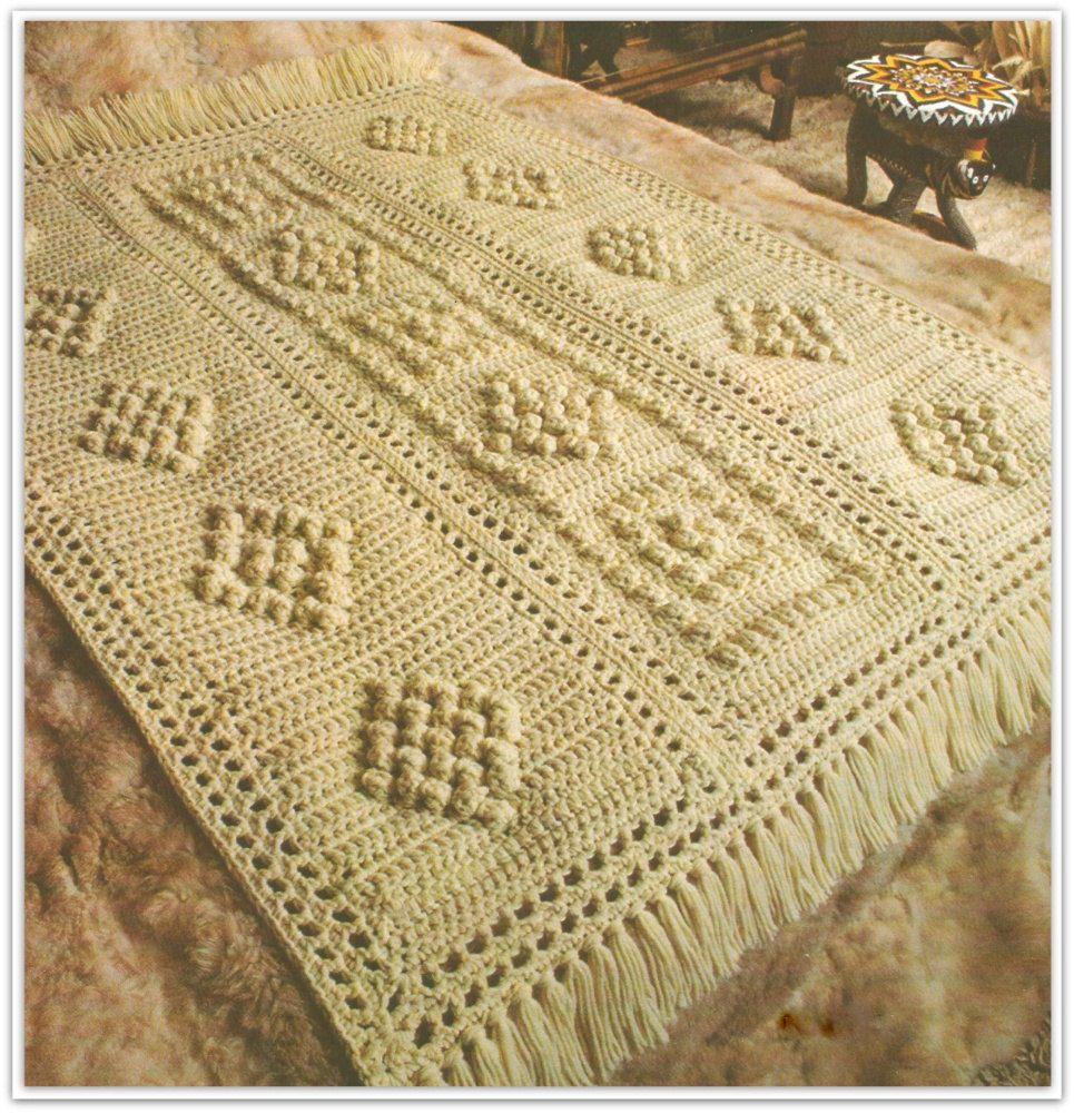 Crochet Afghan Pattern - Popcorn Design - Pattern No. CB170621 by ...
