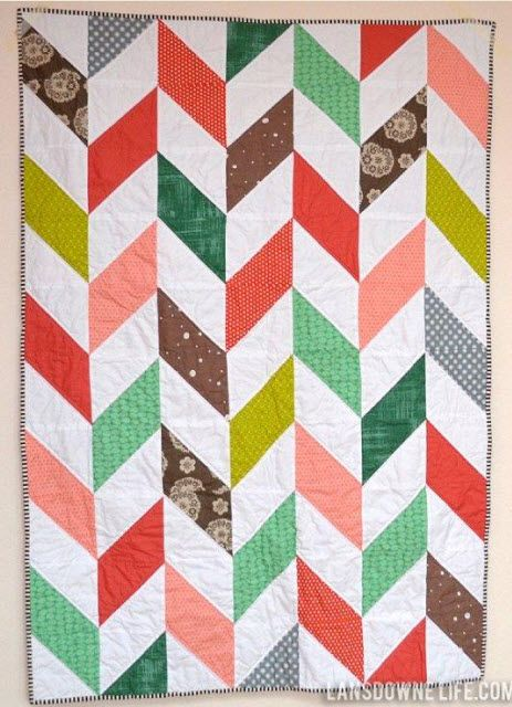 Herringbone Half Square Triangle Baby Quilt Triangle