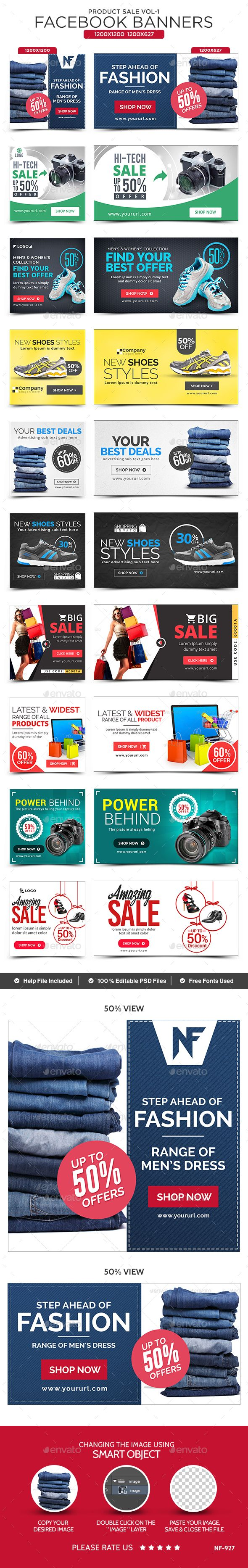 product sale facebook banners 10 designs template psd ad download