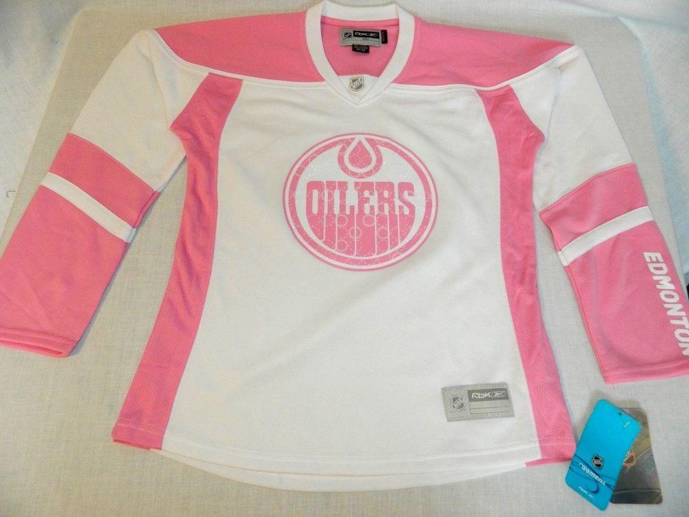 add1318cd Edmonton Oilers Reebok Pink White Womens M Medium Jersey NHL Hockey New w  Tag  Reebok