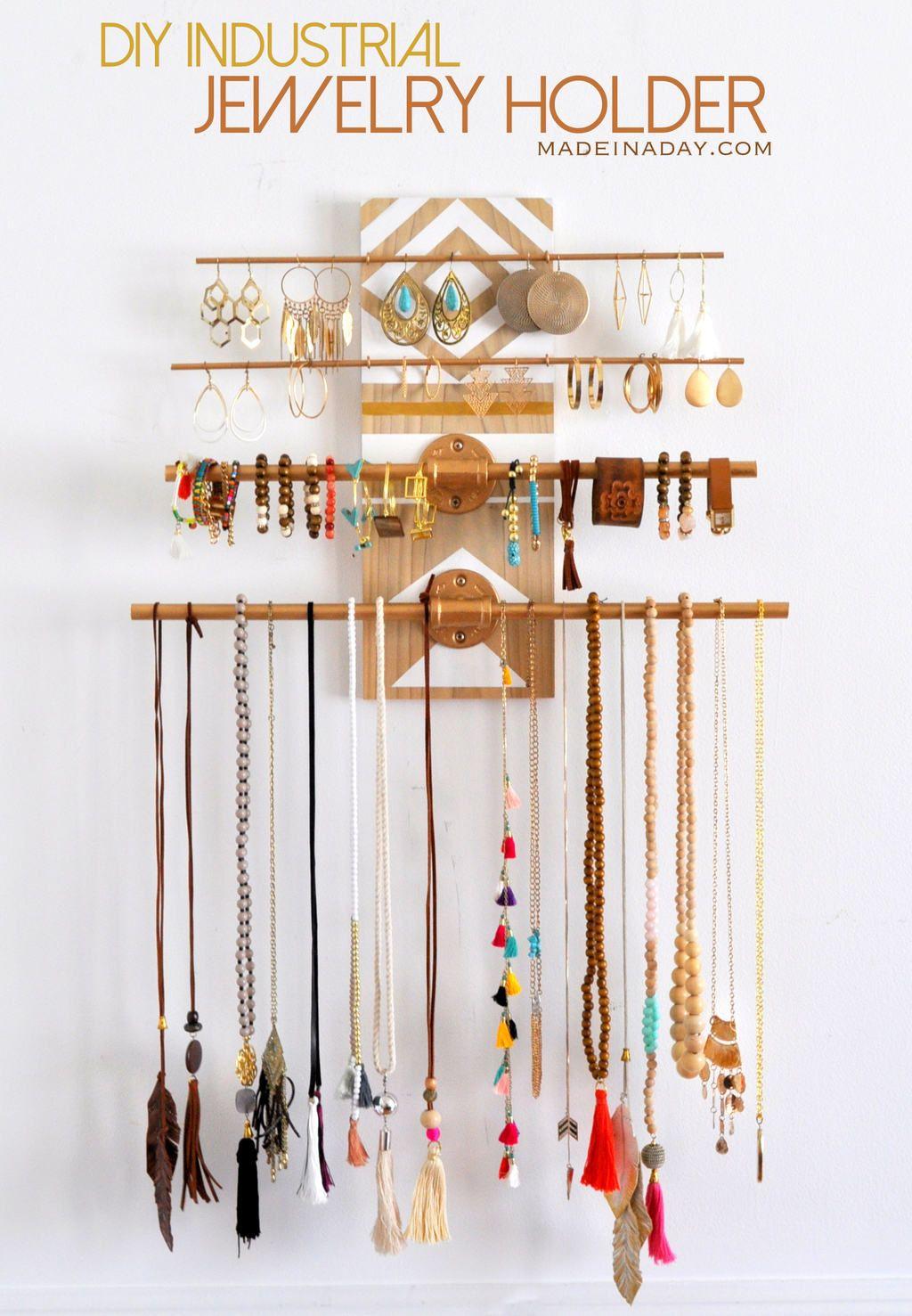 Jewelry Holder Wall Easy Diy Industrial Jewelry Wall Organizer Industriell Smycken