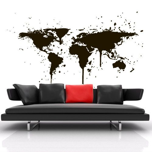 Wall decal vinyl sticker art decor design world travel map countries wall decal vinyl sticker art decor design world travel map countries city ink stain paint drip gumiabroncs Image collections