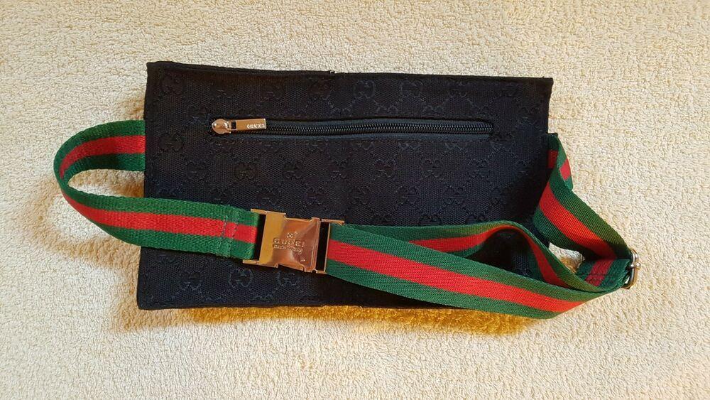 bb2b17dd7b0a GUCCI GG black monogram canvas blue leather web pouch fanny pack waist belt  bag #fashion #clothing #shoes #accessories #mensaccessories #bags (ebay  link)