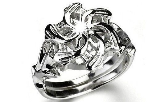 Nenya Sz 6 Lord Of The Rings HOBBIT Ring QUEEN GALADRIEL Flower Crystal Silver #MiddleEarthJewelry #Ring