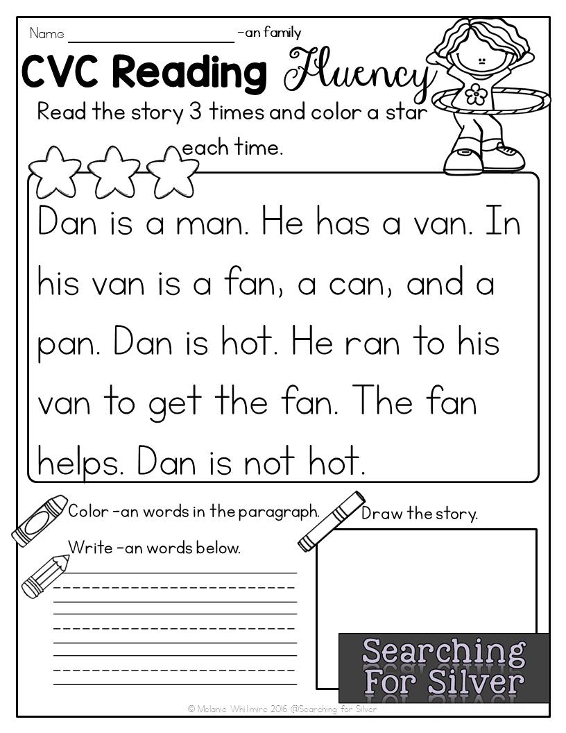 - CVC Practice: Reading Fluency Reading Fluency, Phonics Reading