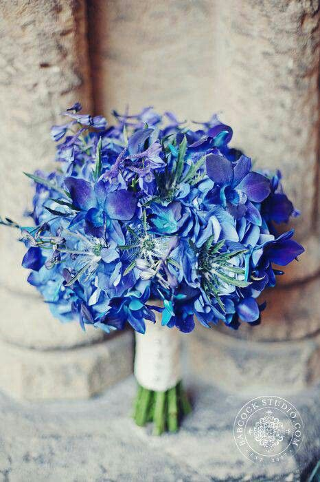 perfect blue wedding bouquet arranged with blue hydrangea