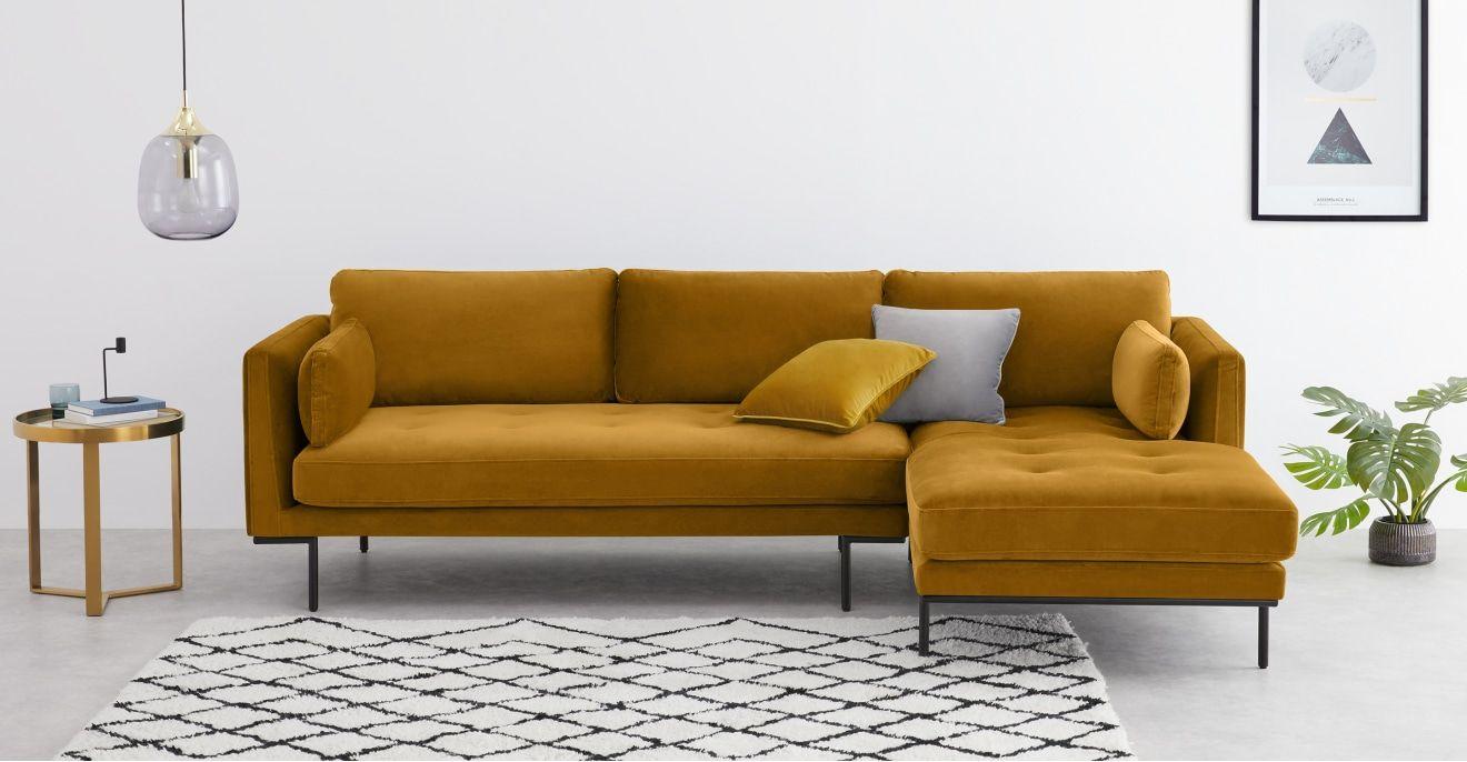 Harlow Ecksofa Recamiere Rechts Samt In Senfgelb In 2020 Vintage Sofa Ecksofa Recamiere