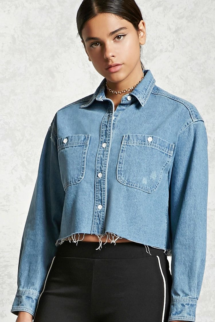 8a6caac57d A distressed denim shirt featuring a basic collar