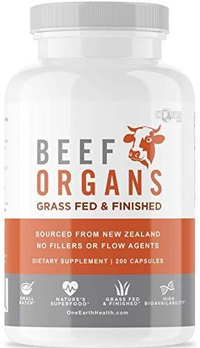 15+ Grass Fed Beef Organs – 200 Count Liver, Heart, Kidney, Pancreas, Spleen Supplement. Organ Meat Complex sourced from New Zealand   200 Count Pack of 1