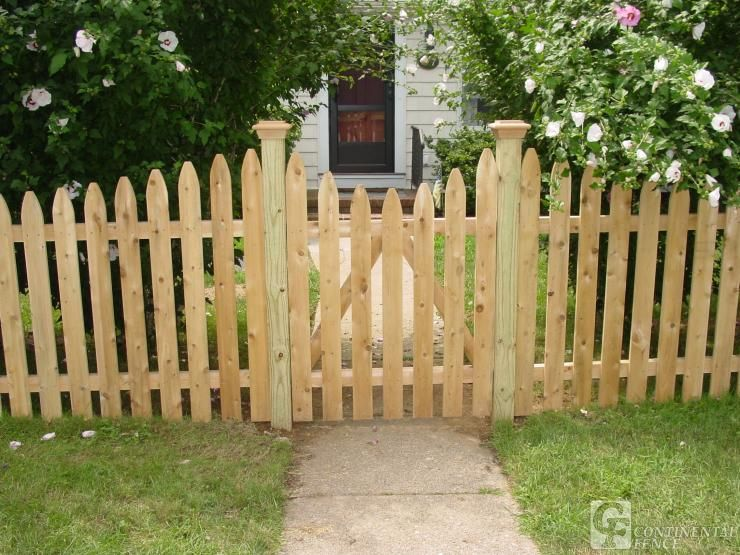 wood picket fence gate. Picket Fence Gate - Pickets Increasing In Height As They Approach The Gate; Concave Wood E