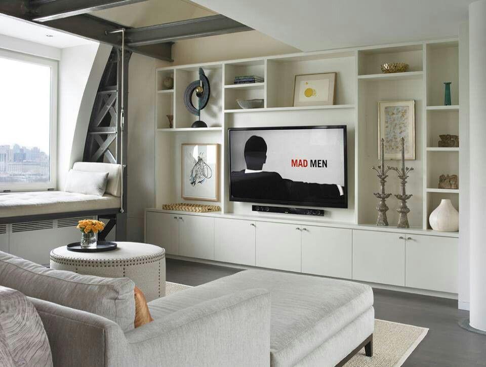 Mueble de obra | Pladur | Pinterest | Salón, Mueble tv y Molduras ...