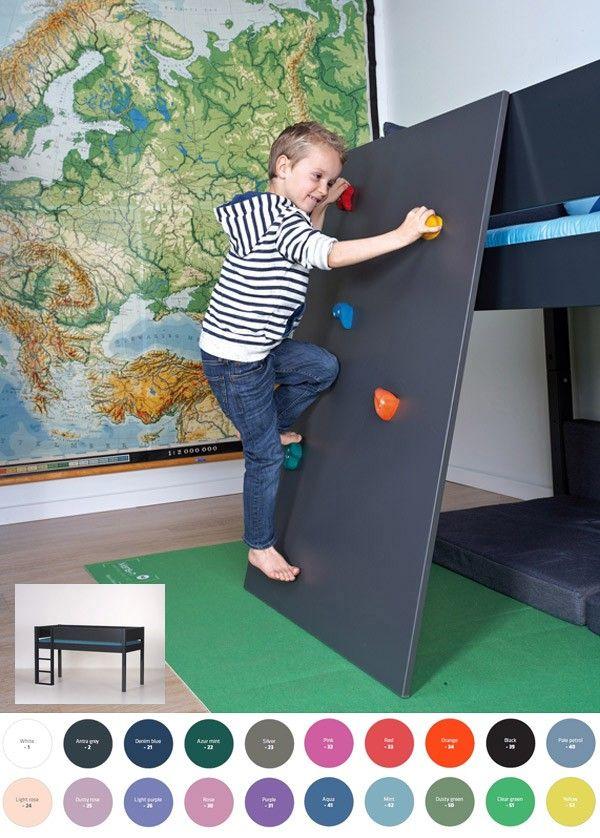 halbhohe kletterwand f r spielbetten mit h 121cm kinderzimmer jungen kletterwand. Black Bedroom Furniture Sets. Home Design Ideas