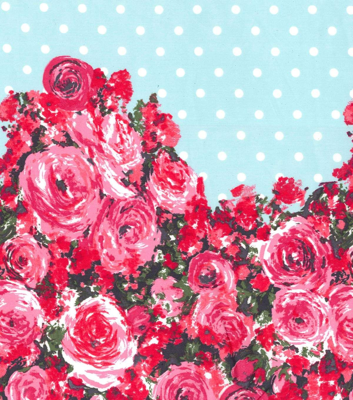 Gertie Collection Cotton Sateen Fabric 42\'\' - Turquoise with Rose Border