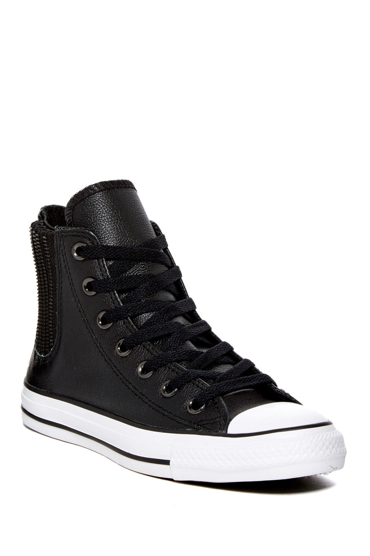 71e1e07e4430 These classic Chuck Taylor All Star Chelsee hi top sneakers are made in  rugged leather with elastic gores finished with trendy tonal zipper trim.