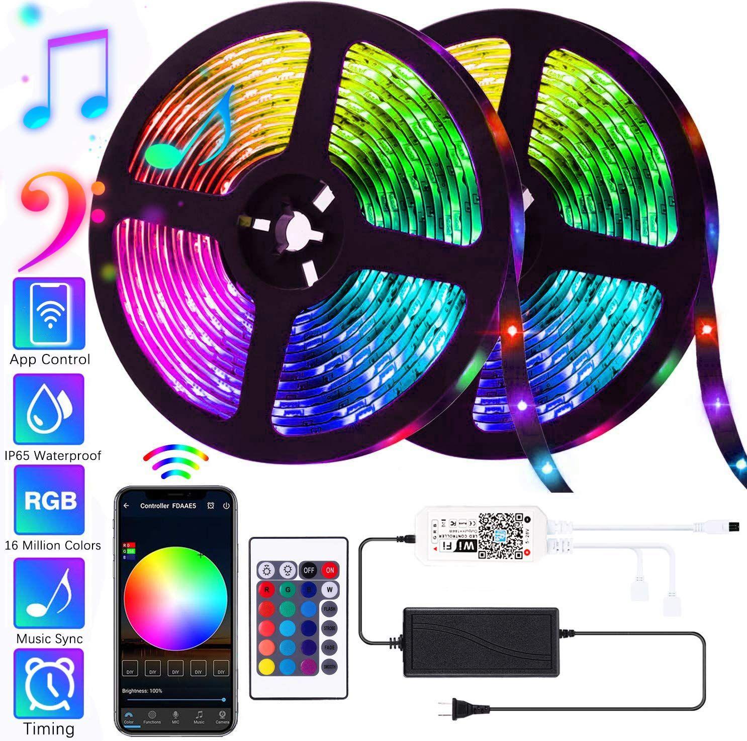 Smart LED Strip Lights WiFi 32.8ft//10M 300LEDs Color Changing Rope 5050 RGB