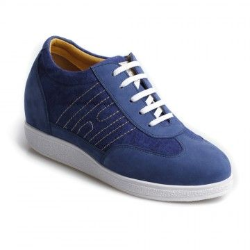 2014 mazarine blue nubuck leather sneakers platform