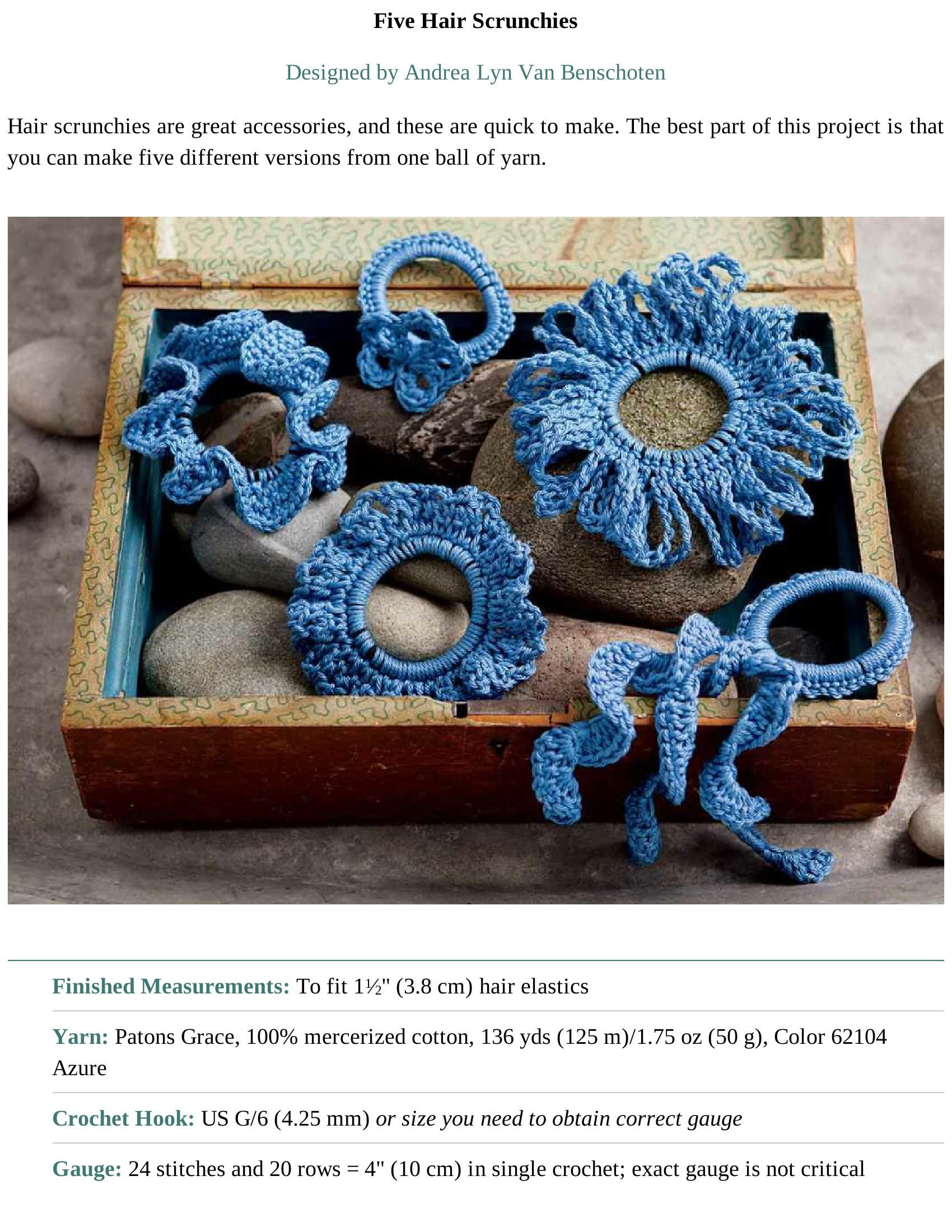 Free hair scrunchie patterns; click arrow to go forward to pattern ...
