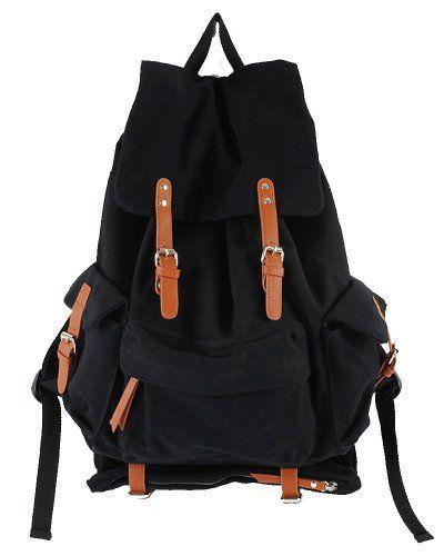 Leaper Vintage Multiuse Canvas Backpack Rucksack School Bag Travel Bag Black -- Click image for more details.