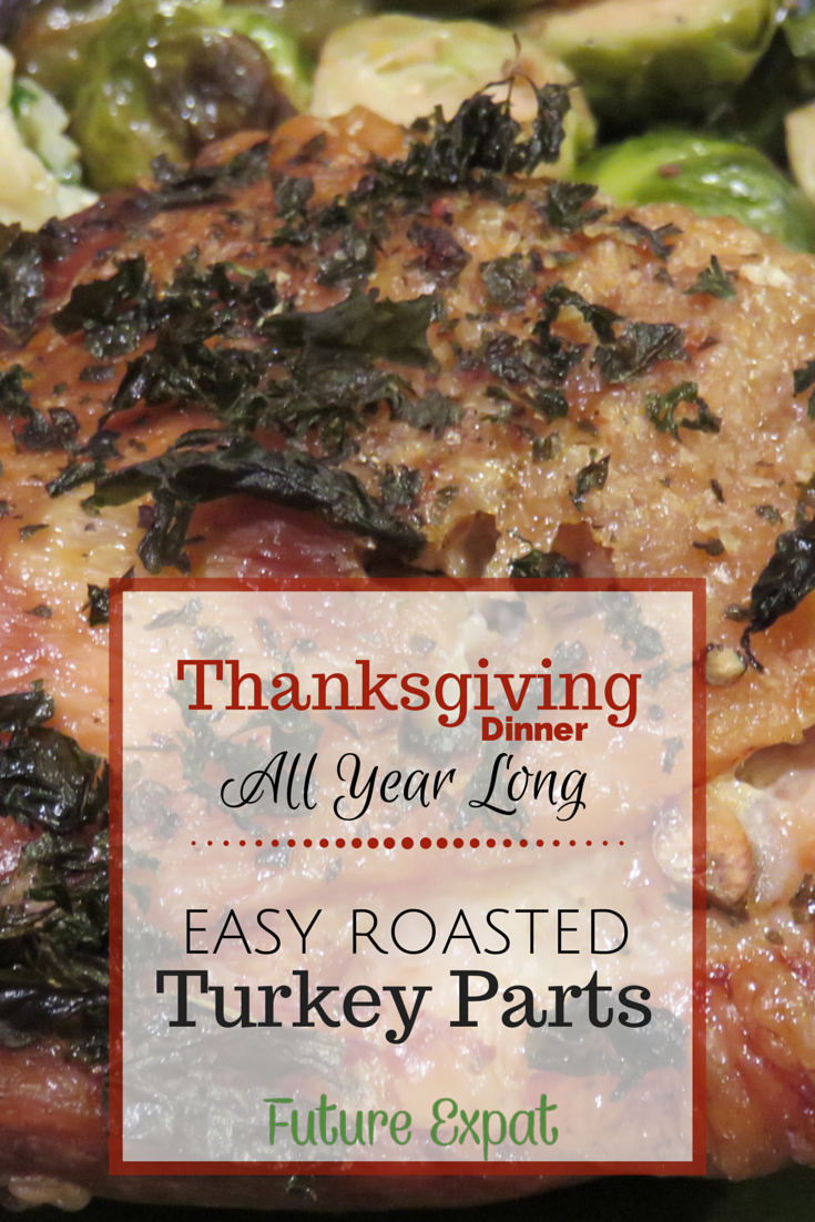 Easy Roasted Turkey Parts: Thanksgiving Dinner All Year Long - if you want turkey for Thanksgiving but don't want to cook a whole turkey, this is your answer. Easy recipe to cook up turkey thighs or breast. Perfect if you are cooking for 1, cooking for 2 or a small family. And easy enough to make all year long.