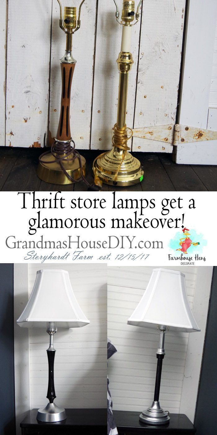 Two Thrift Lamps A Farmhouse Makeover Creating Cohesion Chrome Spray Paint Lamp And Painting