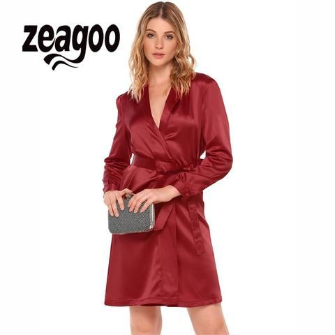 0abf7ccfdc9 long Sleeve Satin Belt Wrap Dress RI