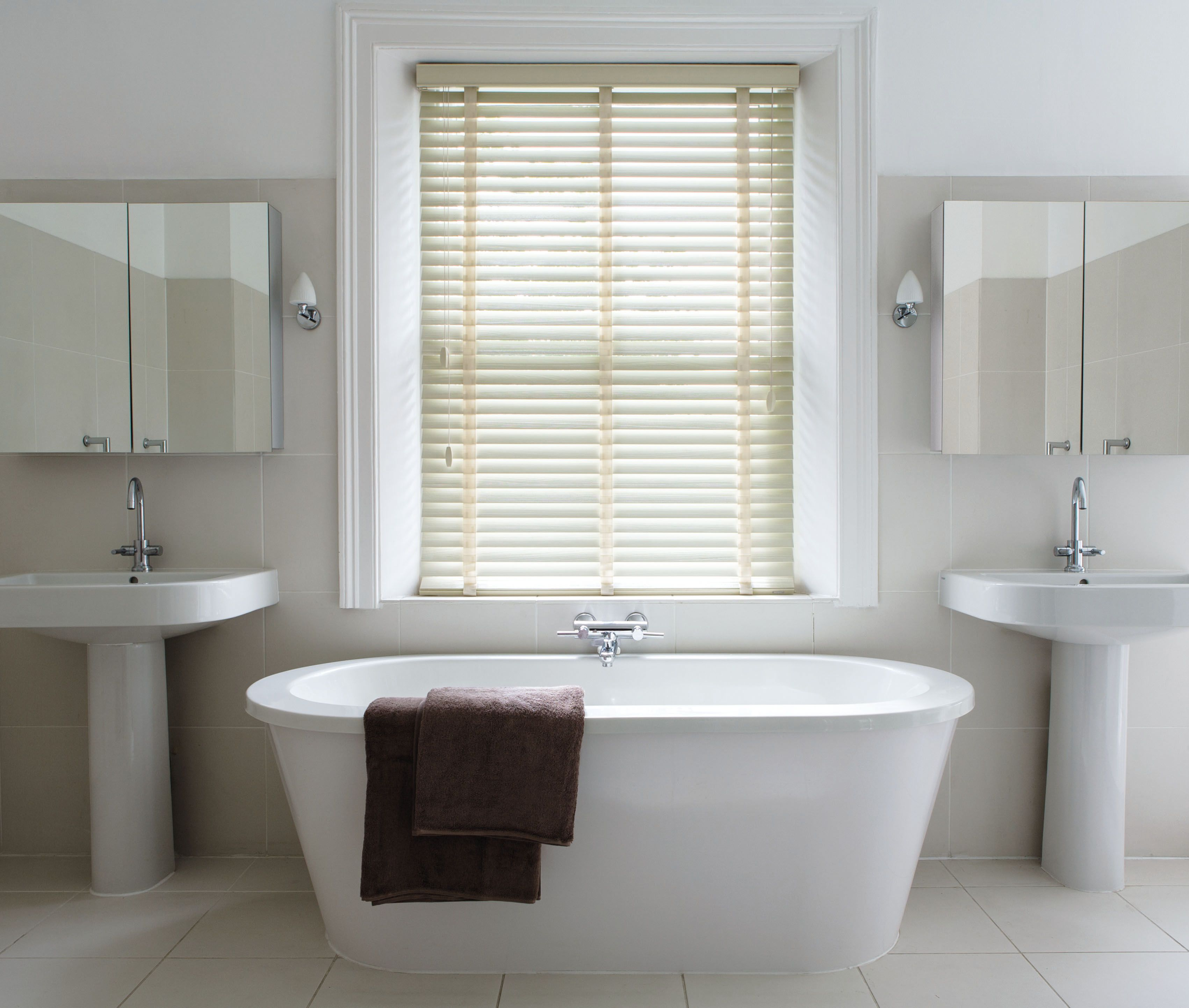 Designer Bathroom Blinds uplift your bathroom with our wooden blinds. #woodenlblinds