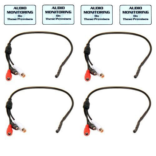 4 Pack High Sensitive Audio Mic Microphone for CCTV Security Camera