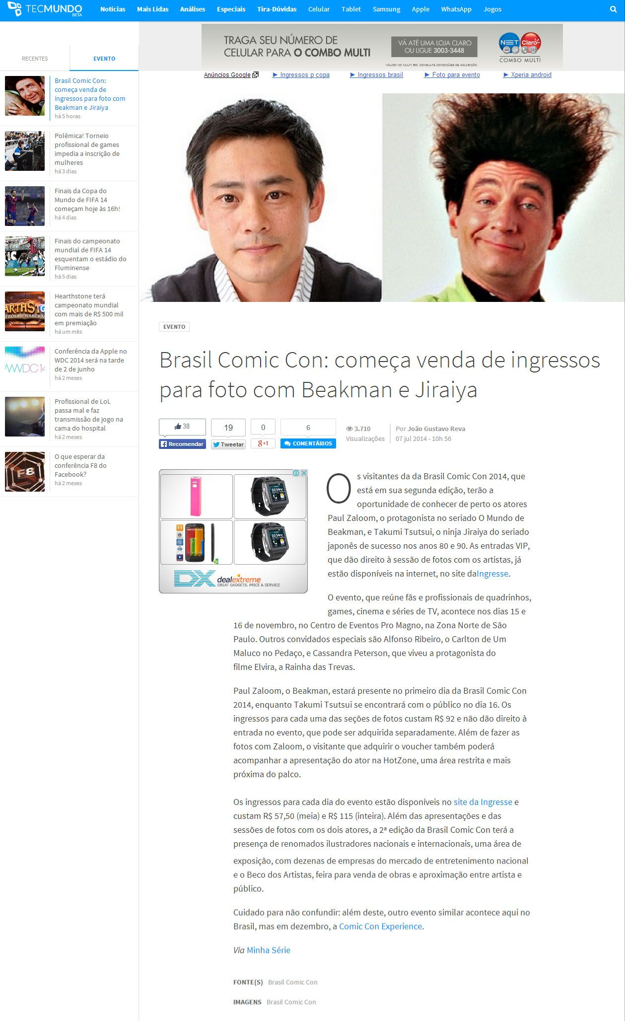 Brasil Comic Con: começa venda de ingressos para foto com Beakman e Jiraiya