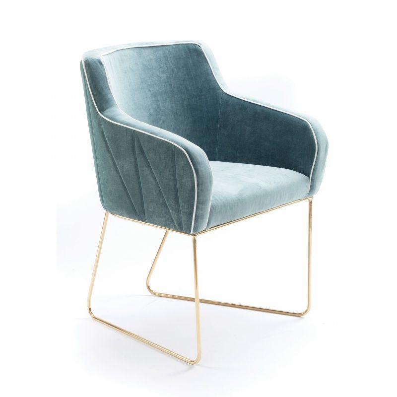 Chaise croix en tissus et pieds en laiton poli furniture - Chaise accoudoir tissu ...