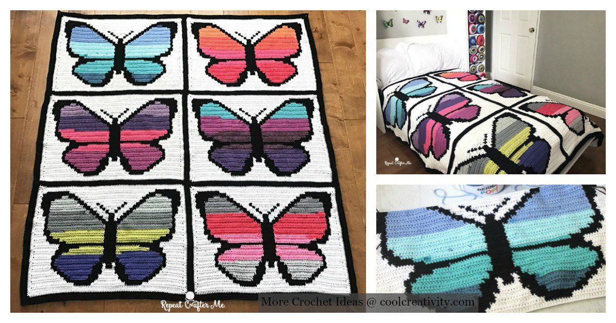 Butterfly Graphgan Afghan Decke kostenlose Häkelanleitung ...