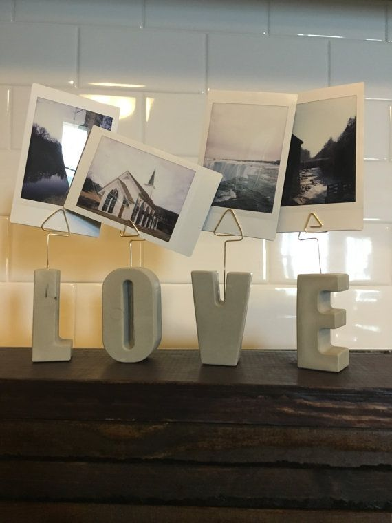 Concrete Letter Photo Display Stands Cement by StoreOfDecor on etsy