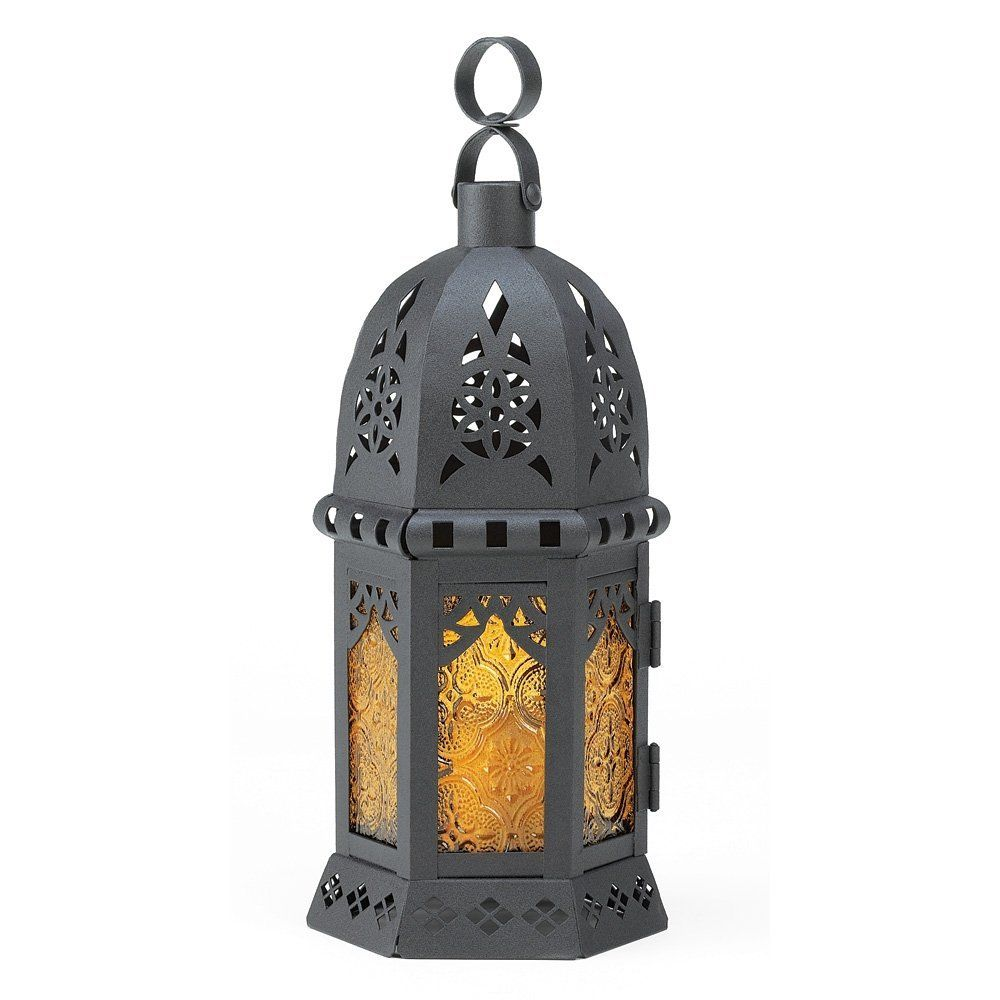 Amazon gifts u decor yellow black moroccan lantern light glass