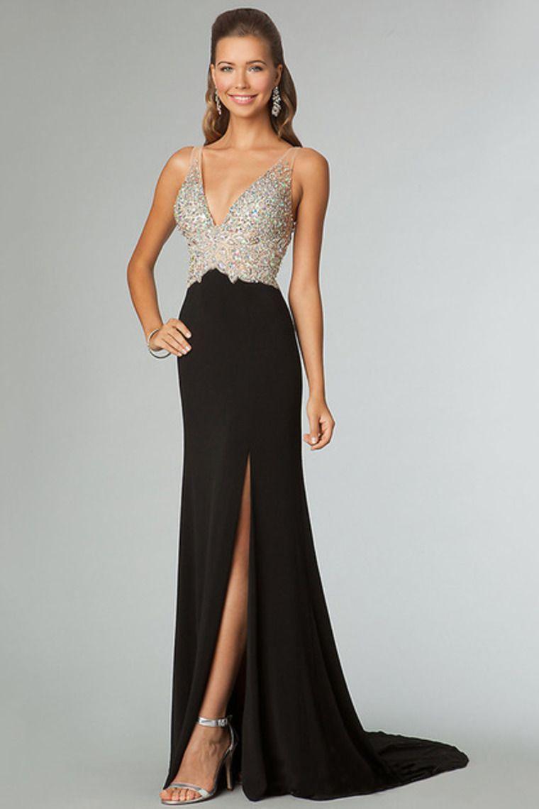Black Prom Dresses Sexy Sheath V-Neck Sweep/Brush Beaded Bodice Zipper Back