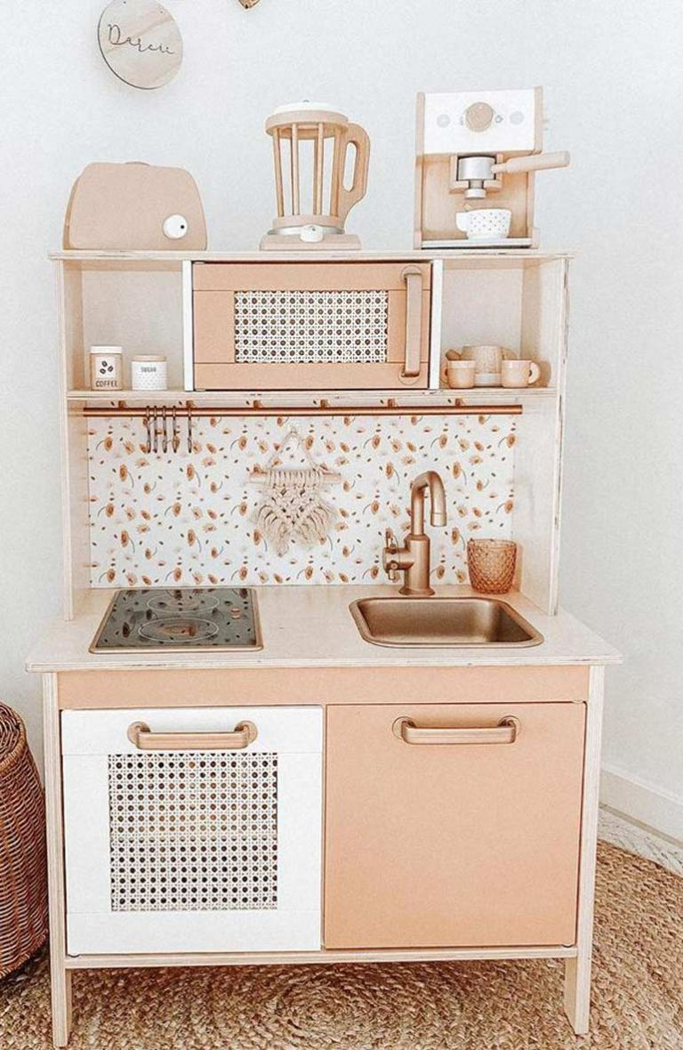 Mum Creates Stunning Indoor Play Space Using Kmart Cubby House + IKEA Kitchen
