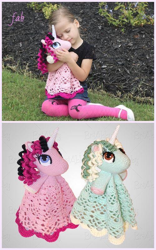Amigurumi Unicorn Security Blanket Free Crochet Pattern & Paid #crochetsecurityblanket