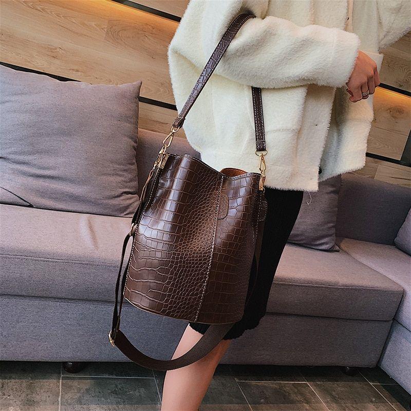 Women Lady Handbag Shoulder Messenger Bags Tote Purse Retro Alligator Bucket Bag