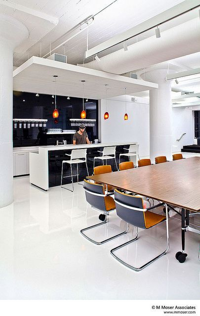 Office designs where workstyle meets lifestyle Orange pendants