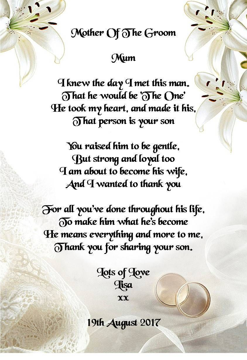 Wedding Day Thank You Gift Mother Of The Groom From Bride Poem A5 Photo Ebay Home Garden