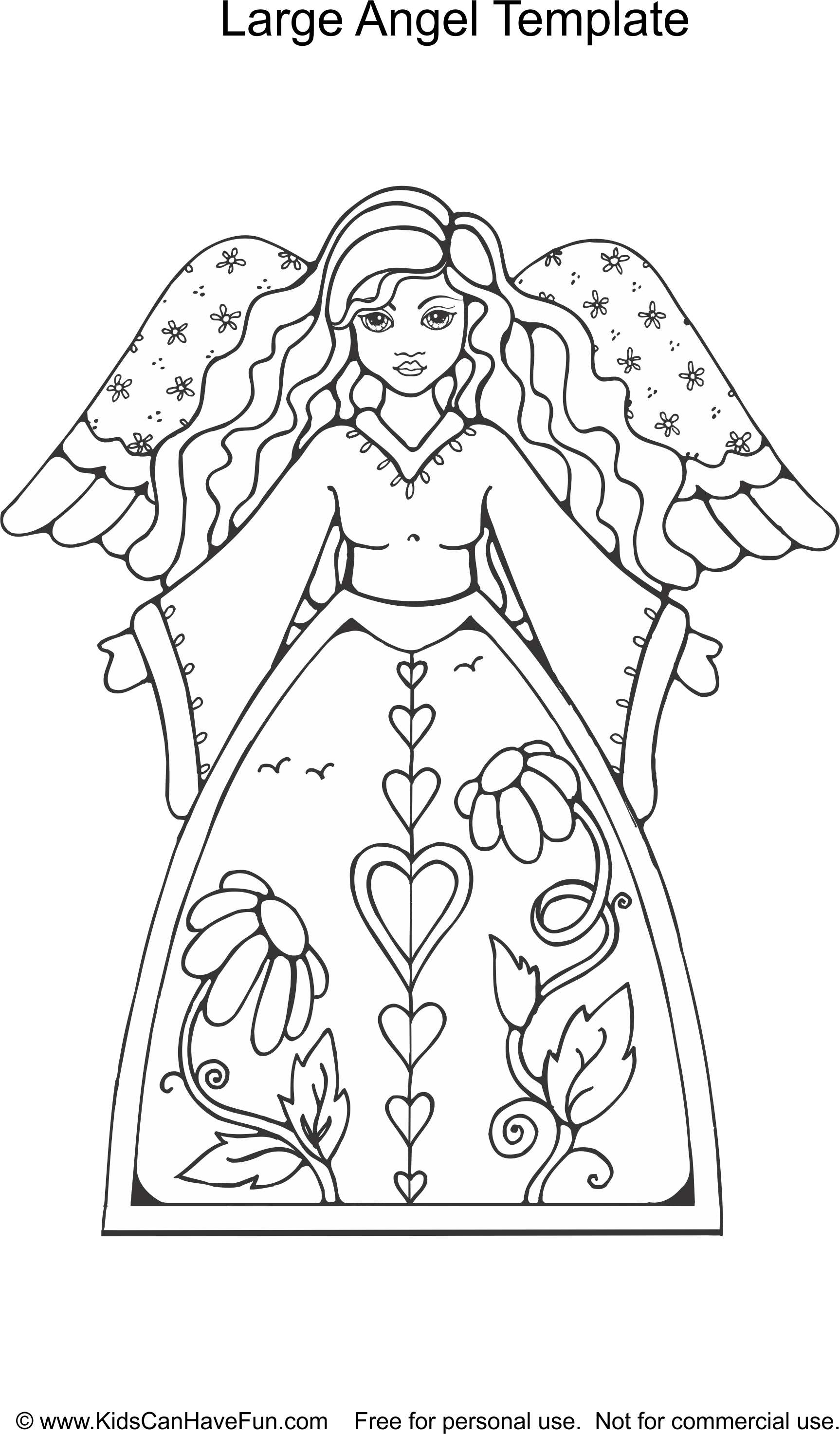 Large Angel Christmas Template http://www.kidscanhavefun.com ...