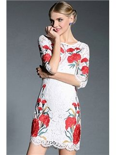 Ericdress Floral Print Lace Round Neck Casual Dress