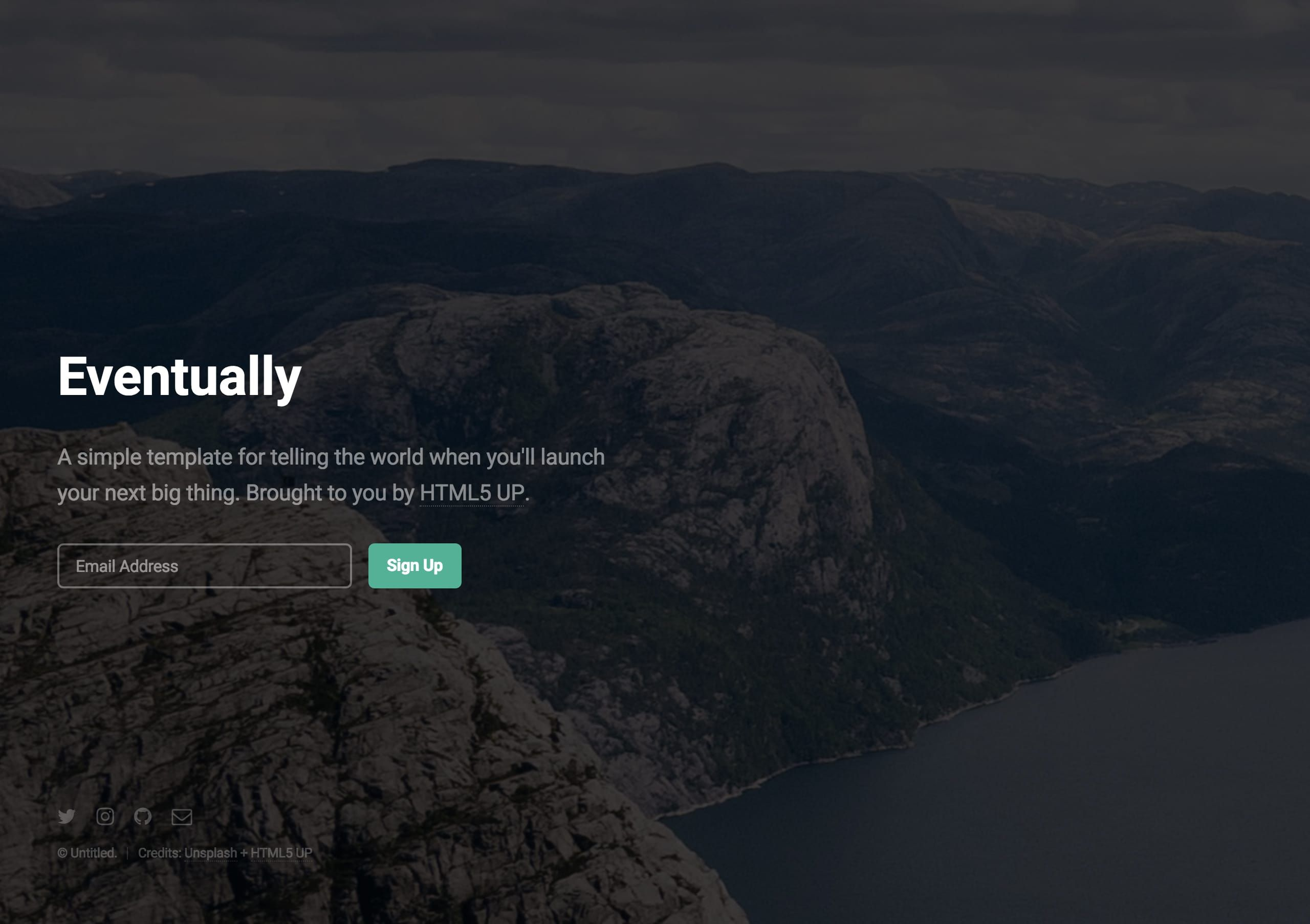 'Eventually' is a FREE Launching Soon HTML template by