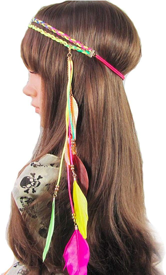 Women indian feather leaf fascinator hair band hemp rope bohemian tassels braided hippie #fascinatorstyles