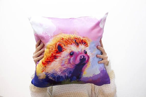 Cute Animal Pillow Cover 18x18, polyester hedgehog pillow case, hedgehog cushion, pink throw pillow cover for girls room, gift for girls