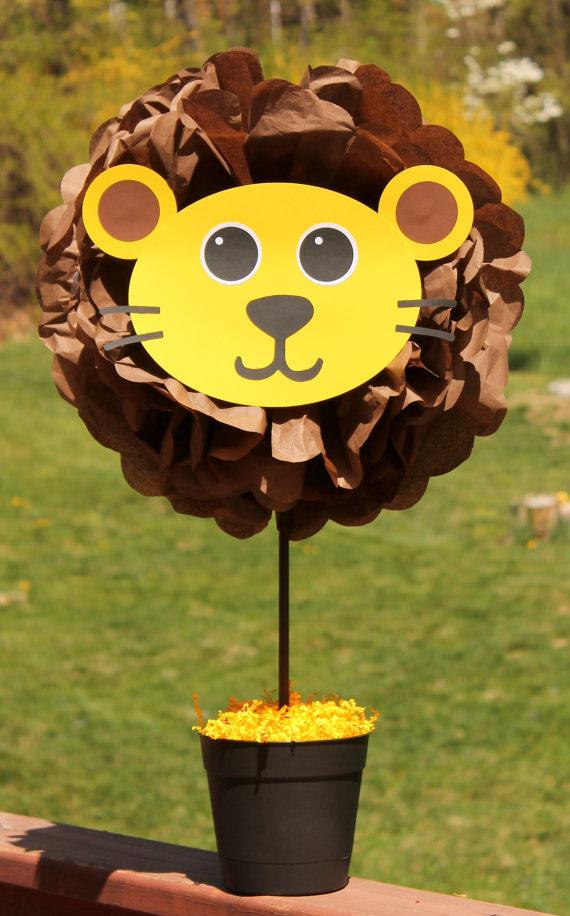 Lion pom pom centerpiece kit jungle safari noahs ark carnival circus baby shower first birthday