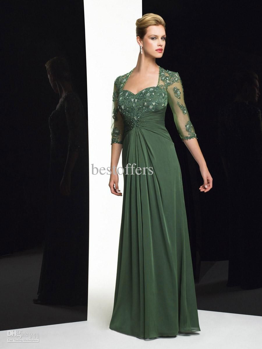 2012 Sweetheart Green Mother Of The Bride Dress With Lace Bolero And Long  Sleeves MB7168