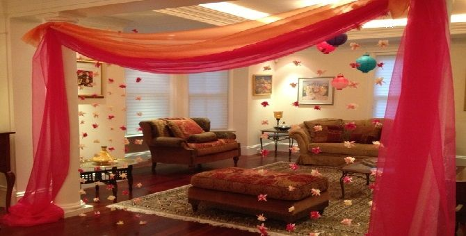 Room decoration with dupatta for Sitting room decorations design