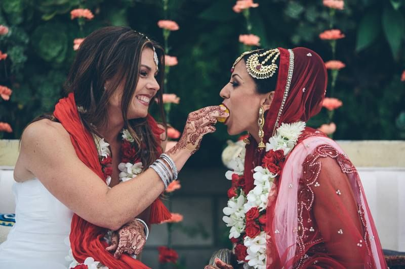 A hindu and a jewish woman marry in the uk's first interfaith lesbian wedding