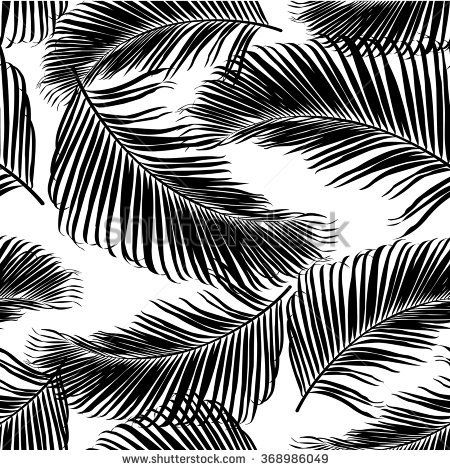 Fashion tropical seamless pattern. Black and white palm