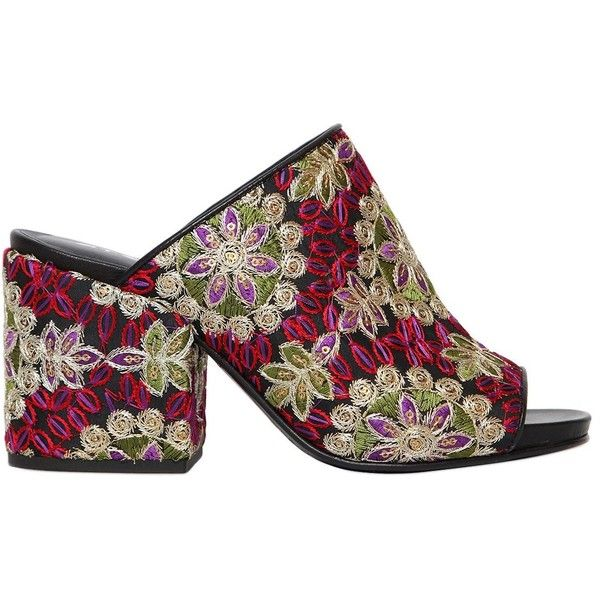 Strategia 70MM EMBROIDERED SATIN & LEATHER MULES s151poL